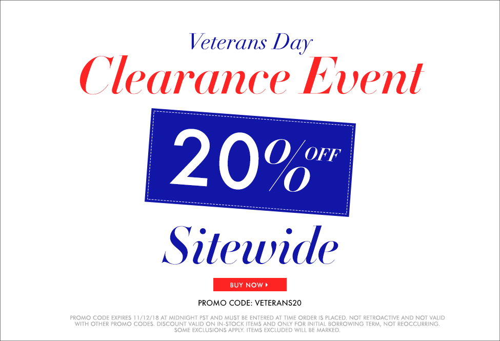 Nov 12 - Veterans Day Clearance Event –SITEWIDE