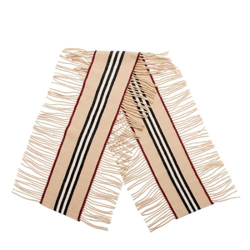 Burberry Cashmere Wool Stripe Fringe Scarf