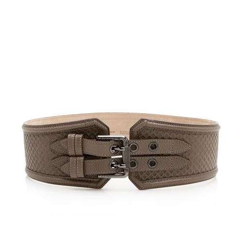 Burberry Perforated Leather Double Buckle Belt - Size 28 / 70
