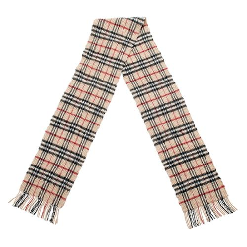 Burberry Ruched Wool Check Scarf