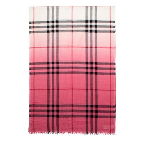 Burberry Wool Silk Ombre Check Scarf