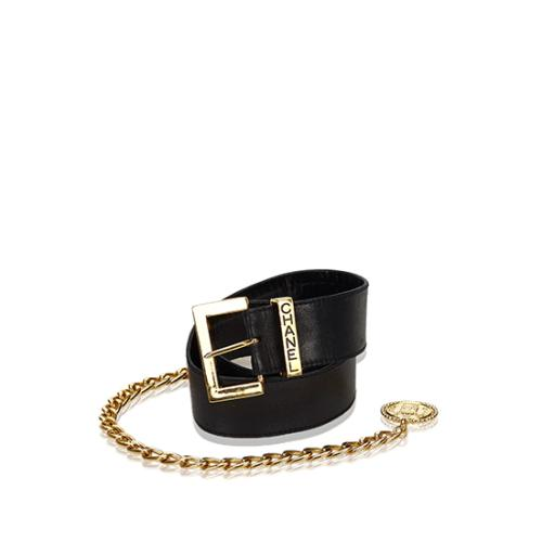 Chanel Vintage Leather Chain Medallion Belt