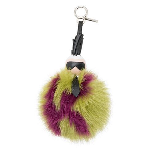 Fendi Lambskin Fox Fur Karl PomPom Bag Charm
