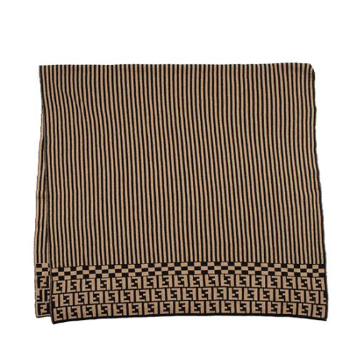 Fendi Merino Wool Striped Logo Shawl