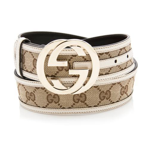 Gucci GG Canvas Interlocking G Buckle Belt - Size 34 / 85