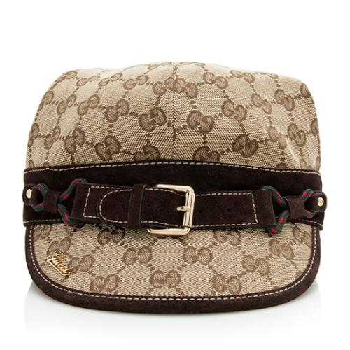 Gucci GG Canvas Suede Buckle Hat - Size M