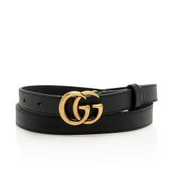 Gucci Leather GG Marmont Slim Belt - Size 34 / 85