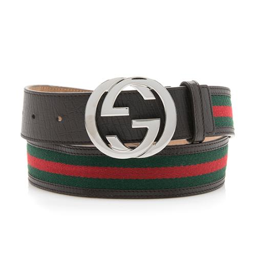 Gucci Leather Web Interlocking G Belt - Size 38 / 95