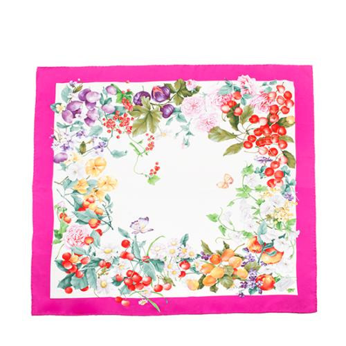 Gucci Silk Flower Fruit Scarf