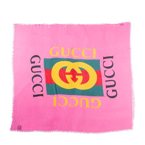 Gucci Silk Modal Logo Shawl