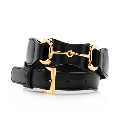 Gucci Smooth Leather Horsebit Belt - Size 30 / 75