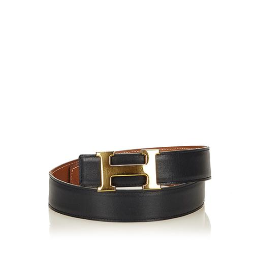 Hermes Vintage Box Calfskin Courchevel Leather 24mm Reversible H Belt - Size 26