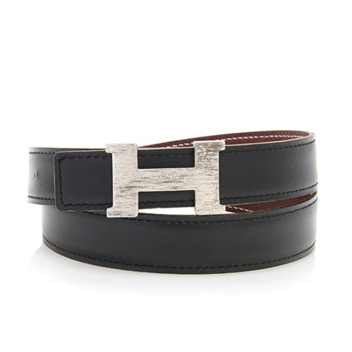Hermes Box Calfskin Clemence Leather 24mm Reversible H Belt - Size 28 / 70