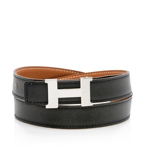 Hermes Box Calfskin Clemence Leather 24mm Reversible H Belt - Size 30 / 75
