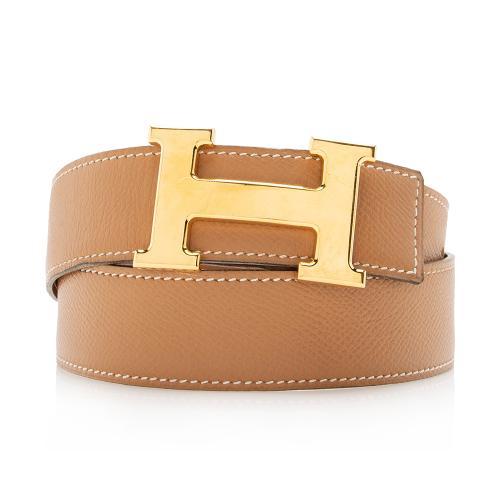 Hermes Box Calfskin Epsom Leather 32mm Reversible H Belt - Size 42 / 100