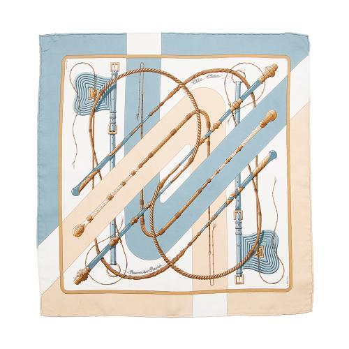 Hermes Silk Clic Clac Argent Pocket Square 45 cm Scarf