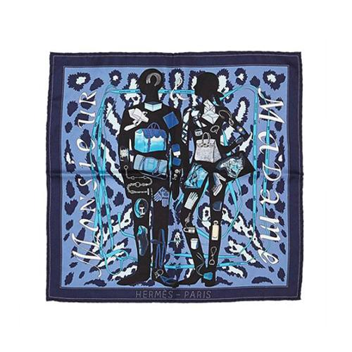Hermes Silk Monsieur et Madame Pocket Square Scarf