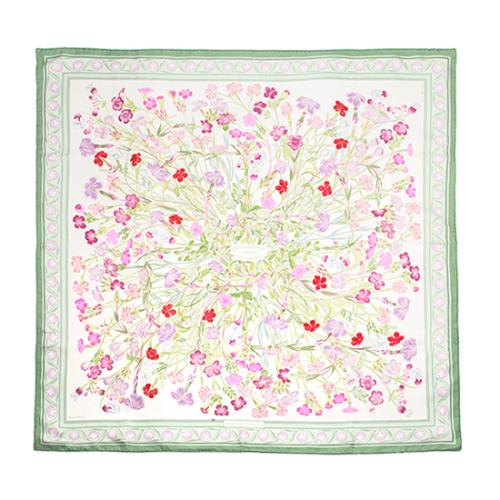 Hermes Silk Oeillets Sauvages et Autres Caryophyllees Scarf