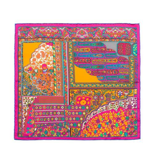 Hermes Silk Tapis Persan Zoom Pocket Square Scarf
