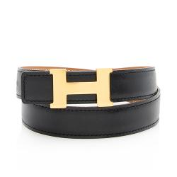Hermes Vintage Box Calfskin Clemence Leather 24mm Reversible H Belt - Size 26 /