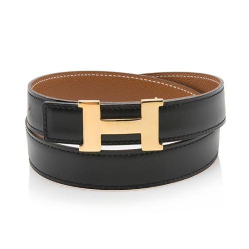 Hermes Vintage Calfskin Togo Leather 24mm Reversible H Belt - Size 28 / 70