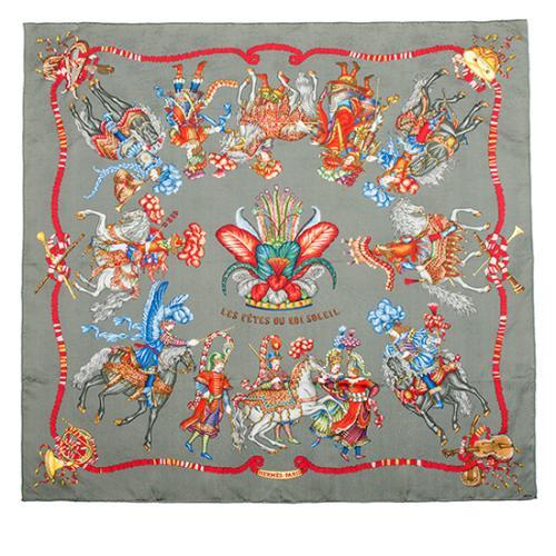 Hermes Vintage Silk Les Fetes Du Roi Soleil Scarf
