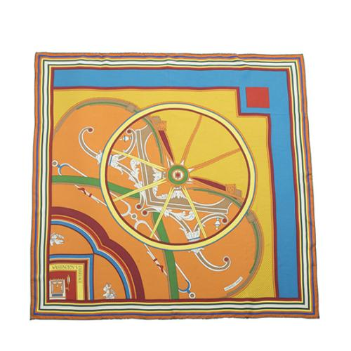 Hermes Washed Silk Washington's Carriage Scarf
