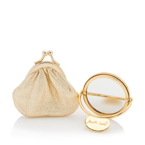 Judith Leiber Small Circular Travel Mirror Coin Pouch Set