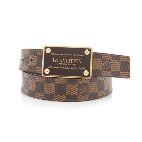 Louis Vuitton Damier Ebene Inventeur Belt - Size 34 / 85