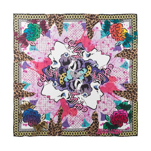Louis Vuitton Silk Carre Geant 4 Seas Pivoine Giant Shawl
