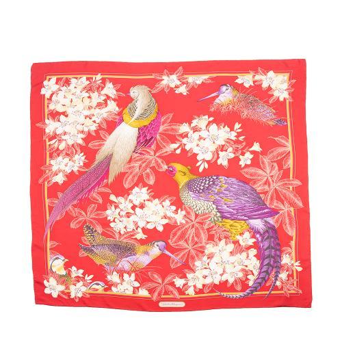 Salvatore Ferragamo Silk Floral Bird Scarf