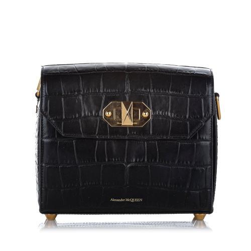Alexander McQueen Alex 21.5 Box Embossed Leather Shoulder Bag