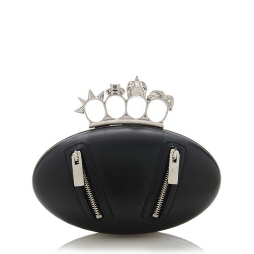 Alexander McQueen Leather Biker Oval Knuckle Clutch