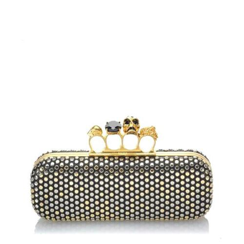 Alexander McQueen Leather Studded Knuckle Box Clutch