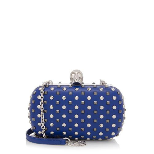 Alexander McQueen Nappa Leather Studded Skull Box Chain Clutch