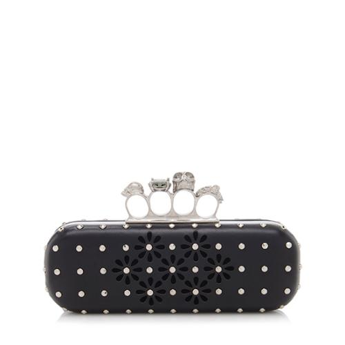 Alexander McQueen Leather Studded Cutout Knuckle Box Clutch