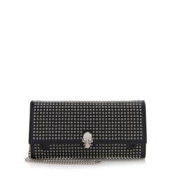 Alexander McQueen Leather Grommet Skull Wallet On Chain Bag