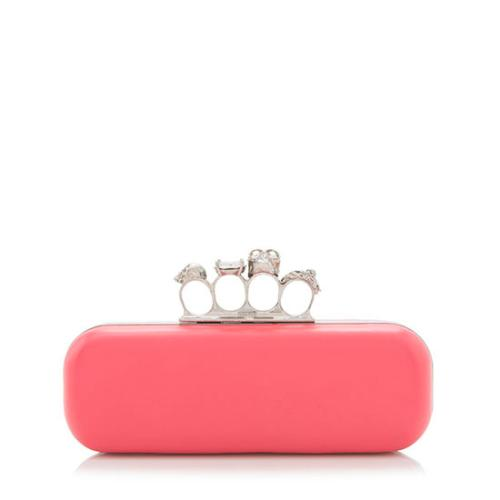 Alexander McQueen Leather Knuckle Box Clutch