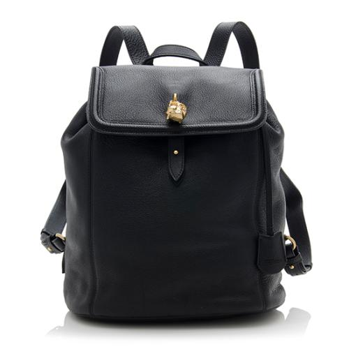 Alexander McQueen Leather Skull Padlock Backpack