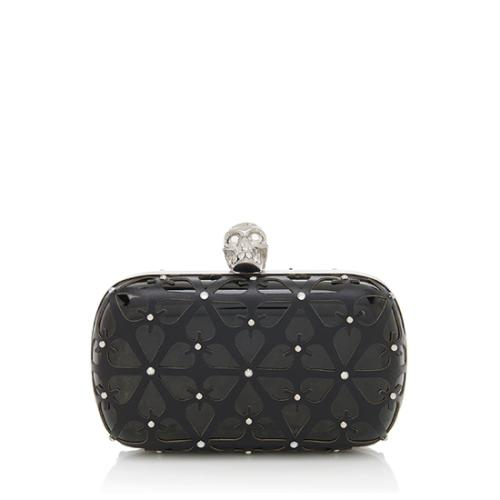 Alexander McQueen Patent Leather Floral Cutout Skull Box Clutch