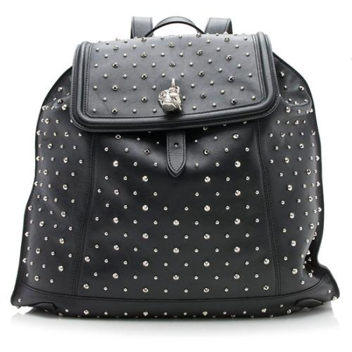 Alexander McQueen Leather Studded Skull Padlock Backpack - FINAL SALE