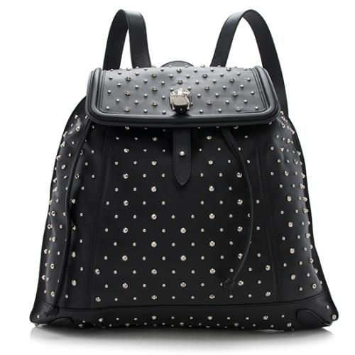 Alexander McQueen Leather Studded Skull Padlock Backpack