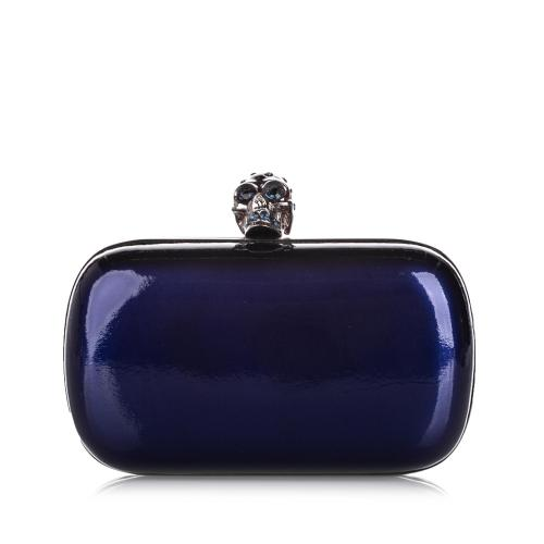 Alexander McQueen Patent Leather Skull Box Clutch