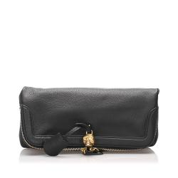 Alexander McQueen Leather Skull Fold Over Clutch