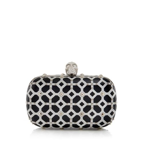 Alexander McQueen Leather Studded Skull Box Clutch