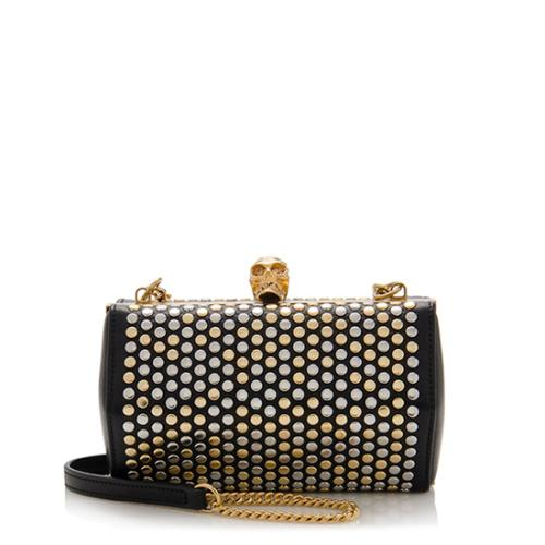 Alexander McQueen Leather Studded Hexagon Skull Box Chain Clutch