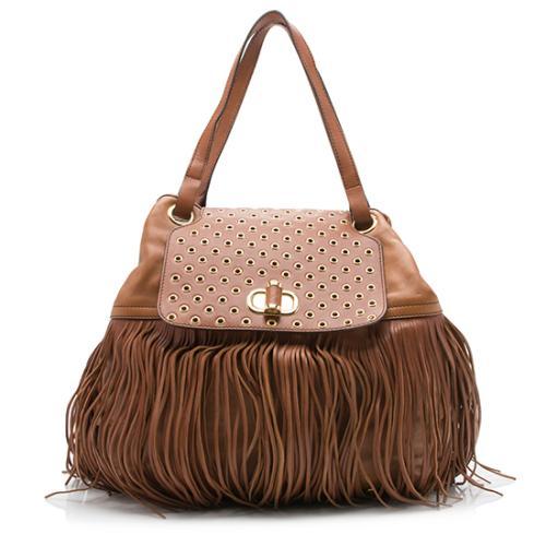 Alexander Mcqueen Leather Fringe Shoulder Bag