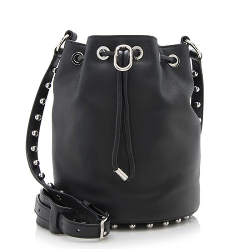 Alexander Leather Ball Studded Drawstring Alfa Bucket Bag