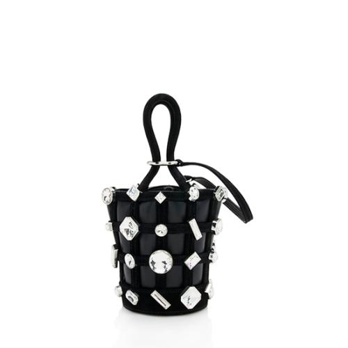 Alexander Wang Leather Suede Crystal Roxy Micro Cage Bucket Bag