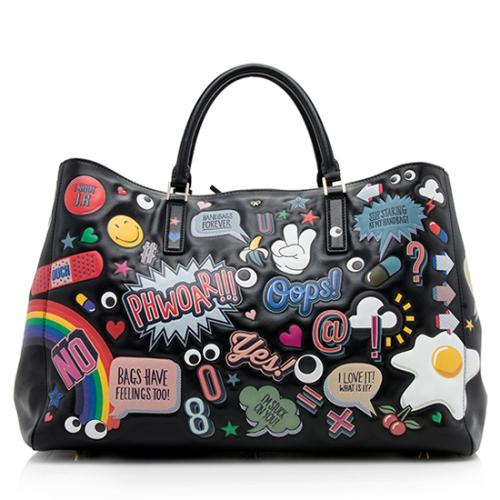 Anya Hindmarch Leather Featherweight Edbury Large Stickers Tote